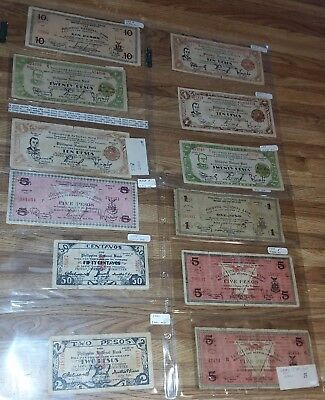 Lot Of Wwii Currency Us Phillippines Bank Notes Collection Centavos Pesos