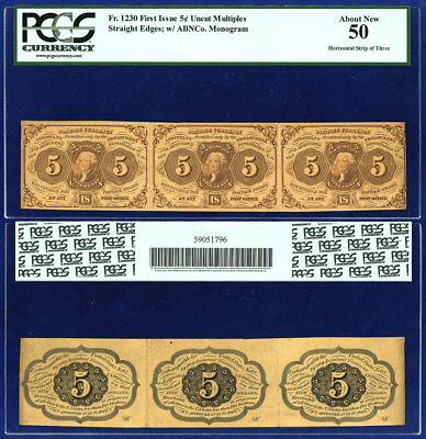 USA 5¢ FRACTIONAL CURRENCY Fr 1230 RARE HORIZONTAL STRIP OF 3 PCGS AU 50