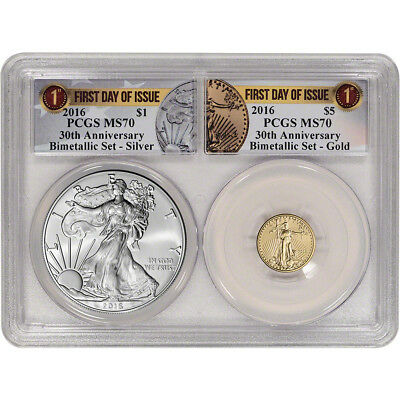 2016 American Eagle Gold & Silver Bimetallic Set - PCGS MS70 - First Day Issue