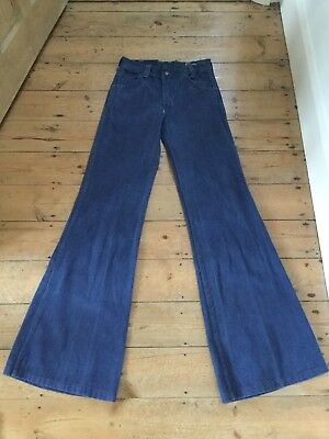 Original Vintage 1970s Ladies Denim Flares By Tim Kay W27 L35