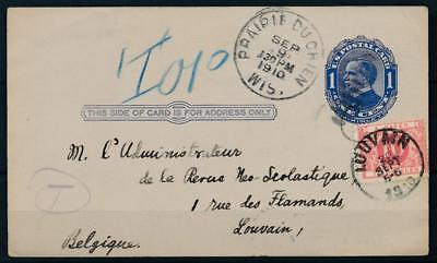 [4864] USA good old postcard in very fine quality with Belgium stampdue