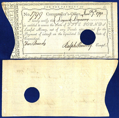 Usa Ct £5 Pounds Issued By Comptroller's Office 1791