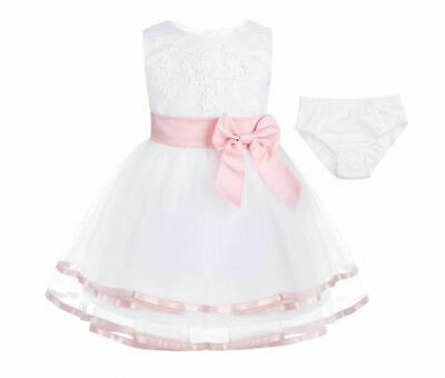 Baby Princess Girls Dress Long Bow Christening Gown Wedding Party Kids Clothes