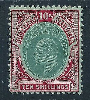 [54069] Southern Nigeria 1907-10 good MH Very Fine stamp $100 browned gum