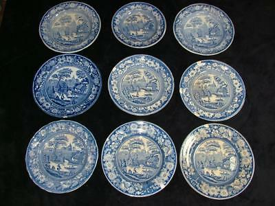 9 x ANTIQUE EARLY 19th CENTURY BLUE & WHITE CHINA DINNER PLATES IN WILD ROSE