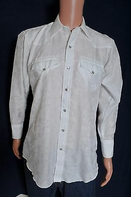 Vintage '80s H bar C White with jacquard embroidered pearl snap western shirt M