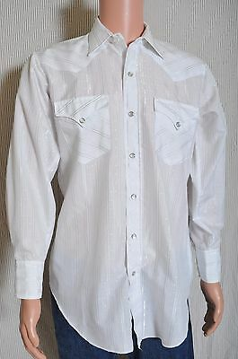 Vintage '70s H bar C White with silver pinstripes pearl snap western shirt M