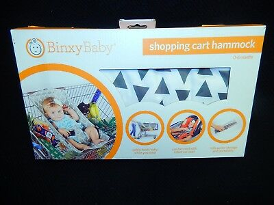 Binxy Baby Shopping Cart Car Seat Hammock Triangles Black Gray White