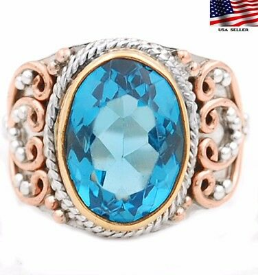 6CT Flawless Blue Topaz 925 Solid Sterling Silver Ring Jewelry Sz 7.75