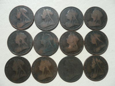 Lot of 12 Queen Victoria One Penny Coins of England - Veil Type pre 1902