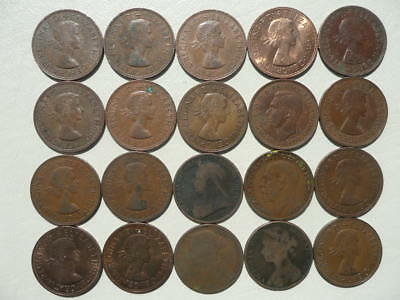 Lot of 20 One Penny Coins of England - mix of reigns