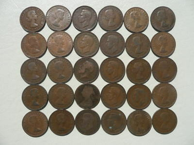 Lot of 30 Half Penny Coins of Great Britain - mix of reigns