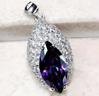 3CT Amethyst & White Topaz 925 Solid Genuine Sterling Silver Pendant Jewelry
