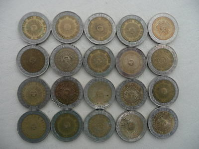 Lot of 20 Mixed Argentina Bimetallic Coins - with radiant sun image