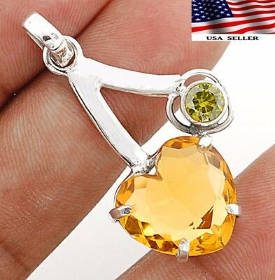 "Heart- Golden Citrine 925 Solid Sterling Silver Pendant Jewelry 1 2/3"" Long"