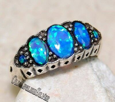 1CT Blue Fire Opal 925 Solid Sterling Silver Edwardian Style Ring Jewelry Sz 7