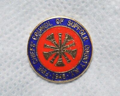 "Fire Chiefs' Council Of Suffolk  County New York 1945 3/4"" Metal Lapel Pin"