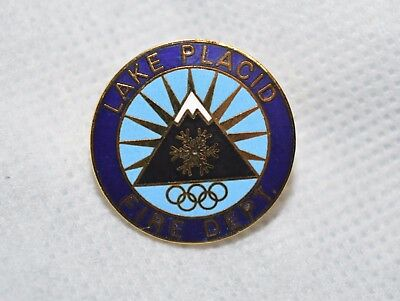 "Lake Placid Fire Dept New York Vintage Goldtone 1"" Metal Lapel Pin"