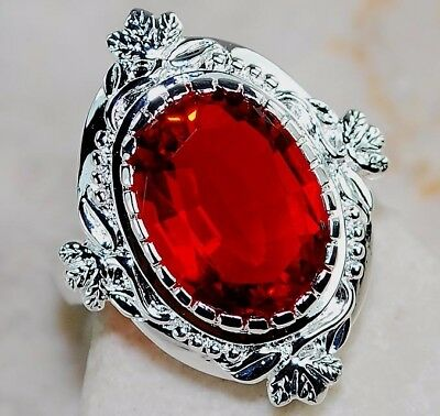 4CT Fire Garnet 925 Solid Genuine Sterling Silver Filigree Ring Jewelry Sz 6