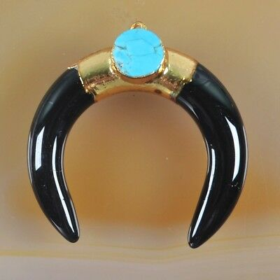 Crescent Double Horn Black Glass 8mm Howlite Turquoise Charm Gold Plated H104149