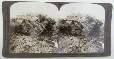 Derelict Tank Cambrai Antique Wwi Stereoview Photo