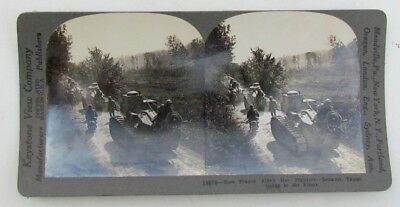Renault Tanks Going To The Front Antique Wwi Stereoview Photo