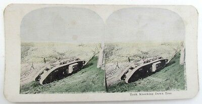 Tank Knocking Down Tree Antique Wwi Stereoview Photo