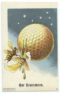 MARRIED BEES Bride & Groom FLY to HONEYMOON Dripping Honey from ROUND HIVE 1907