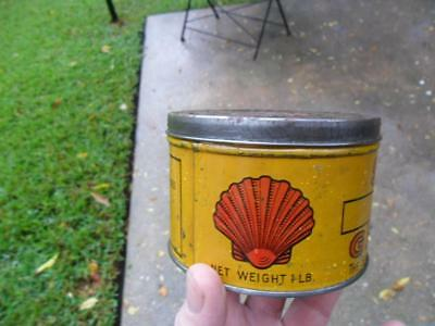 1920's ? Early Graphic Shell 1 lb Grease Metal Can Oil Vintage Original