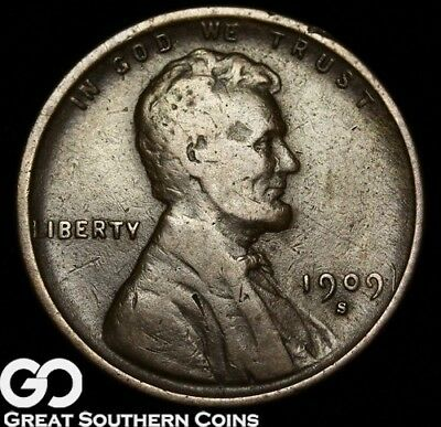1909-S Lincoln Cent Wheat Penny, Tougher Date