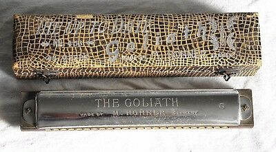 Vintage HOHNER GOLIATH Harmonica KEY of G w/ CASE No 453 Pre War GERMANY 48 Reed