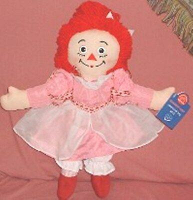 "NEW MWT Raggedy Ann - 2003 15"" Valentine's Day Doll by Appaluse - Pink Applause"