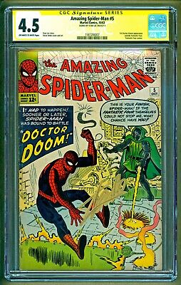 Amazing Spider-Man #5 (1963 Marvel) Dr Doom appearance Signed Stan Lee CGC 4.5