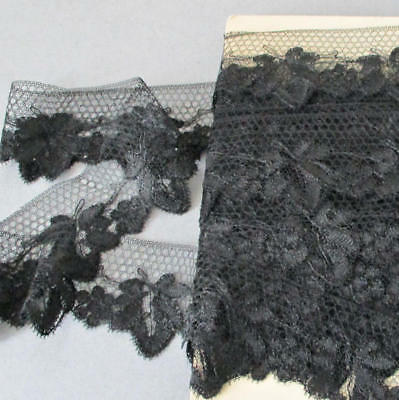 "Antique French SILK Black CHANTILLY LACE Trim 1 5/8"" Wide X 12 Yards * on Card"