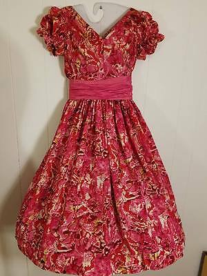 Vtg 50s Taffeta Gay Gibson Party Dress Pink Red Green Abstract Floral S 36b 24w
