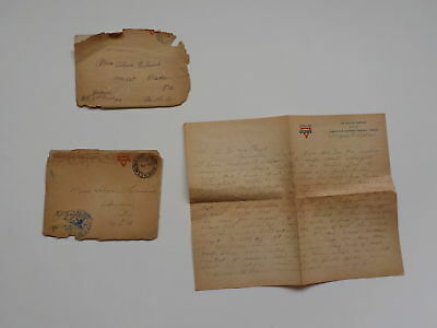3 WWI Letters AEF Cook St. Aignan France WW1 Baden Pennsylvania Lot Overseas VTG