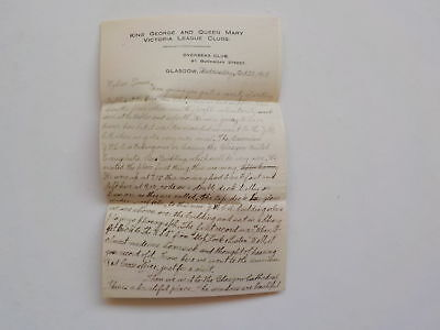WWI Letter 1918 King George And Queen Mary Victoria League Clubs Glasgow WW1 VTG
