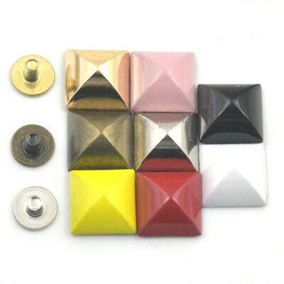 10mm Pyramid Square Stud Spikes Screw Spot Rivet Bag Shoes Leather Craft DIY SSS