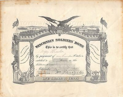 Antique Civil War Wisconsin Soldiers Home Shares Certificate 1865 Milwaukee Wis
