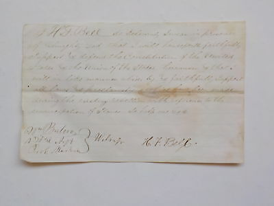 Civil War Document Slaves Loyalty Oath United Stated Constitution Antique 1 VTG