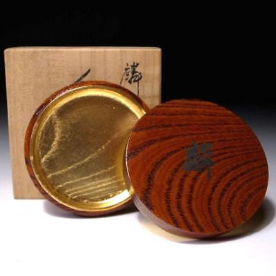VC4: Japanese Lacquered Natural Wooden Incense Case, Kogo with wooden box