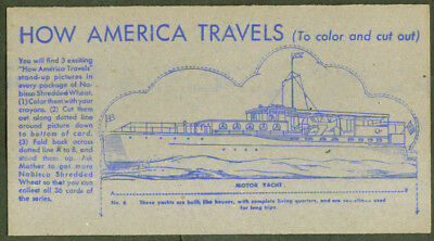 Nabisco How America Travels card #6 Motor Yacht 1940s