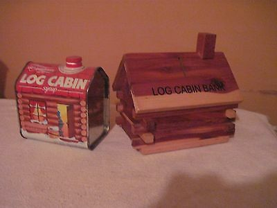 1987 LOG CABIN SYRUP Cabin Shaped Tin + Wooden LOG CABIN BANK..Good Used