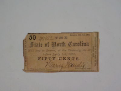 Civil War Confederate 1861 50 Cents Note Raleigh North Carolina Paper Money