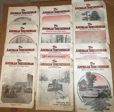 "12 Vintage ""Antique"" The AMERICAN THRESHERMAN  Magazines 1926 1927 1928 Farmer"