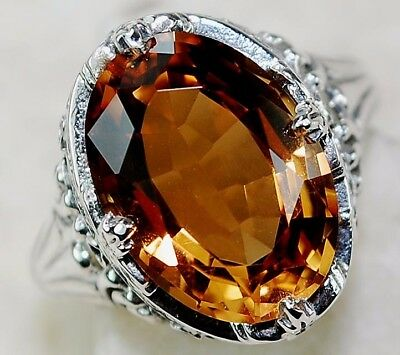 4CT Golden Citrine 925 Solid Sterling Silver Art Deco Filigree Ring Jewelry Sz 7