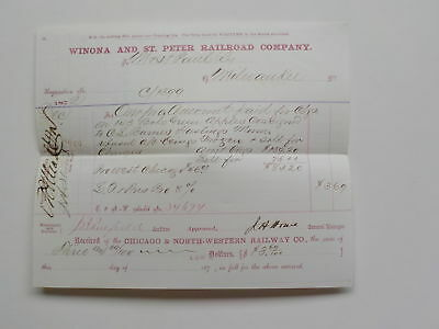 Antique Document 1872 Winona And St. Peter Railroad Company Hastings Minnesota N