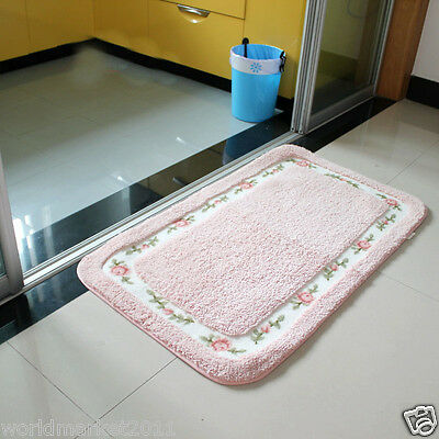Simple Microfiber Thickened Non-Slip Bathroom Absorbent Mat Pink