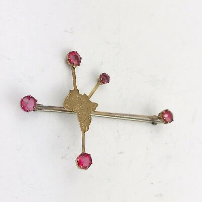 ANTIQUE SOLID 9ct GOLD RUBY SET MINING RARE EARLY  PIN BROOCH