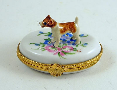 New French Limoges Trinket Box Cute Jack Russell Terrier Dog In Colorful Garden